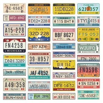 Placas de coche. conjunto de ilustraciones de licencia de número de automóvil de vehículos estadounidenses