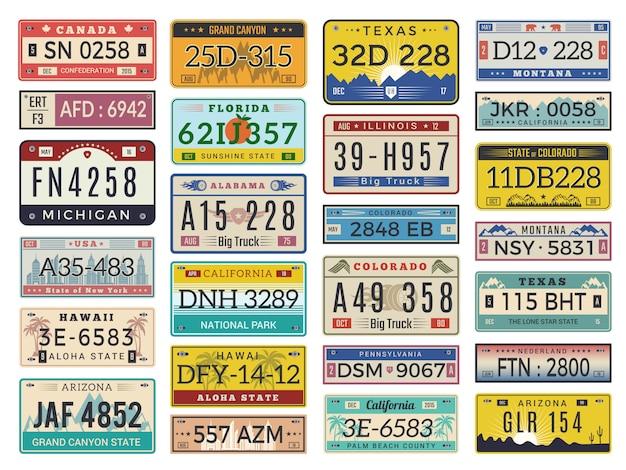 Placas de coche. números de licencia de automóvil de carretera colección de signos de estilo retro antiguo