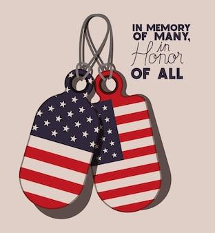 Placas de metal con bandera de estados unidos del día conmemorativo