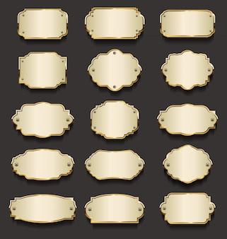Placas de metal colección dorada