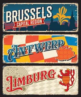 Placas de las regiones belgas de bruselas, limburgo, amberes