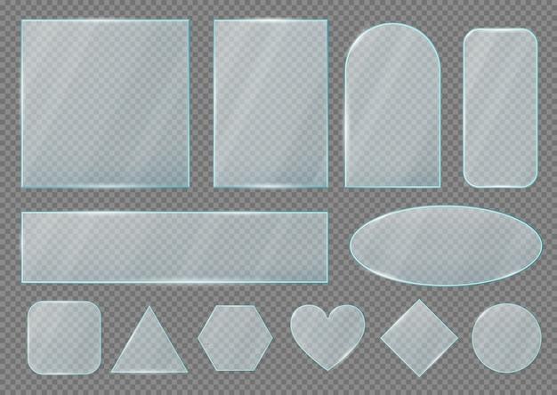 Placas de vidrio y formas de marcos, efecto transparente realista.