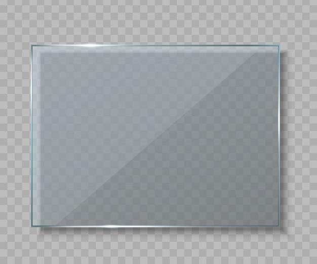Placas de vidrio, pancarta en blanco vacía.