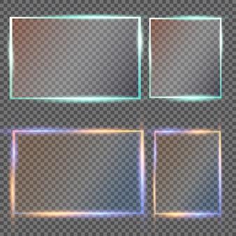 Placas de vidrio con pancartas de vidrio sobre fondo transparente