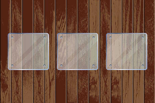 Placas de vidrio transparente sobre fondo con textura de madera