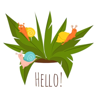 Plagas de plantas, caracoles en la planta verde - ilustración de jardinería