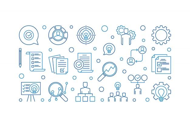 Plan de acción empresarial conjunto de iconos de contorno creativo
