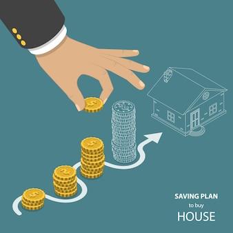 Plan de ahorro para comprar casa plana isométrica.