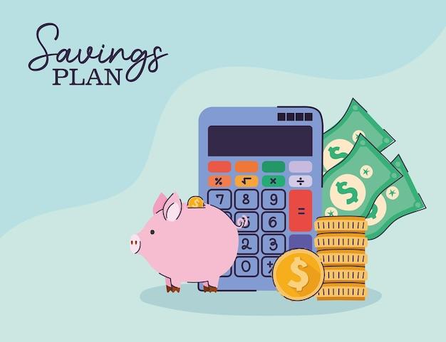 Plan de ahorro de letras con conjunto de diseño de ilustración de iconos de gestión de ahorro