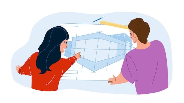 Plan de arquitecto investigando el vector del equipo de ingenieros. los diseñadores investigan y desarrollan un plan de arquitecto para la construcción de un centro de negocios. personajes ocupación profesional ilustración de dibujos animados plana