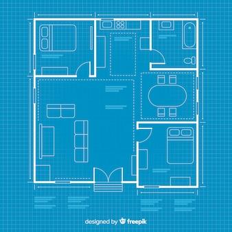 Plan arquitectónico de la casa con plano