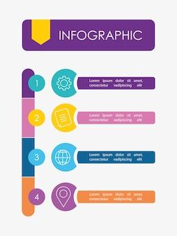Plan de desarrollo de infografía o estrategia con elementos de medios de números