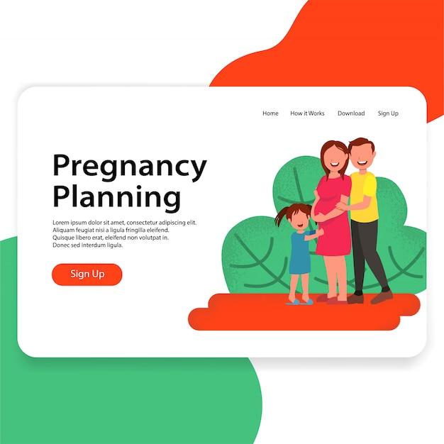 Plan de embarazo ilustración ui concepto página de destino