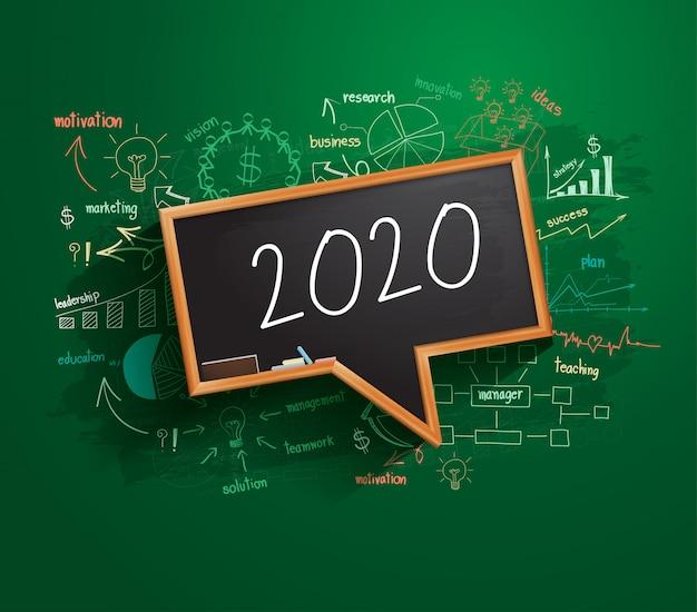 Plan de estrategia de éxito empresarial de año nuevo 2020 en pizarra de burbujas de discurso