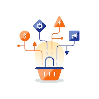 Plan de estrategia de marketing, icono de la cesta, mejora de las ventas, compras en línea