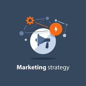 Plan de estrategia de marketing, icono de megáfono, anuncio de atención, concepto de relaciones públicas