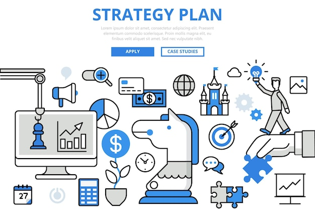 Plan de estrategia, planificación estratégica, concepto de negocio, iconos de arte de línea plana.