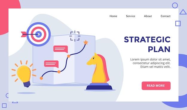 Plan estratégico caballo ajedrez flecha tablero objetivo campaña para sitio web página de inicio página de inicio plantilla de página de aterrizaje banner con moderno