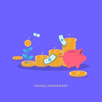 Plan de inversión de dinero con monedas hucha y concepto de planta