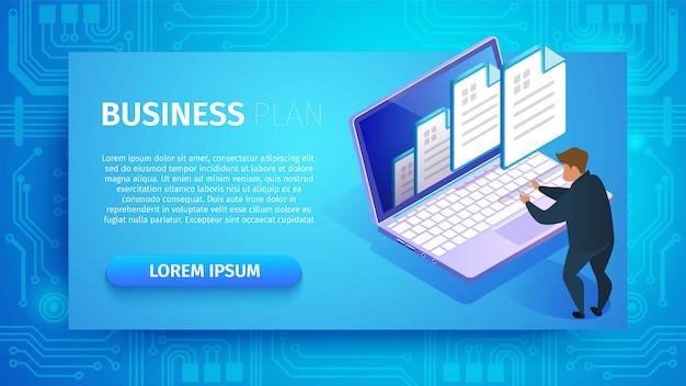 Plan de negocio banner horizontal con copia espacio.
