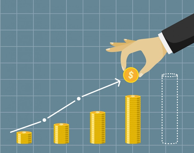 Plan de negocios financieros - mano que sostiene la moneda de oro.