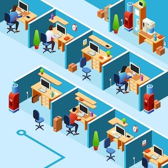 Plan de oficina de cubículo, coworking con empleados que trabajan, empleados en sus lugares de trabajo.