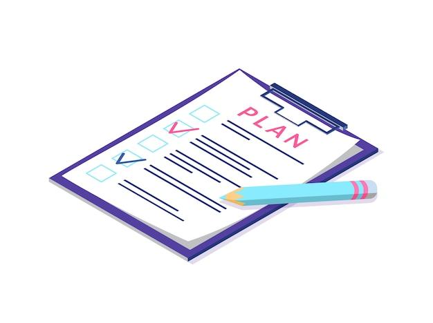 Plan en la página del portapapeles, bolígrafo y documentación