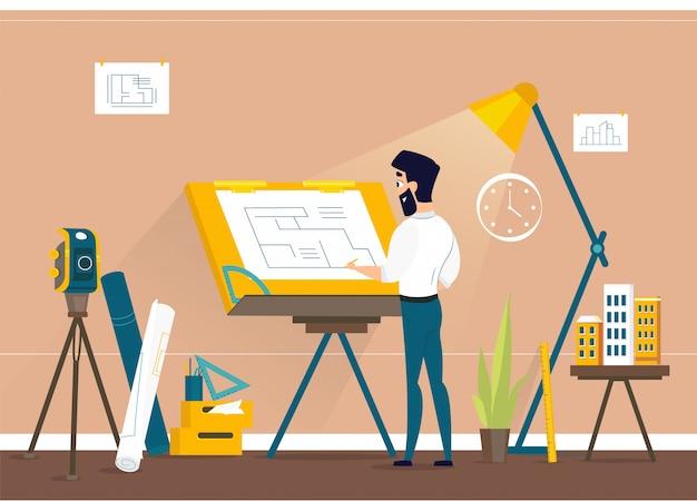 Plan de piso del proyecto de la casa de dibujo del arquitecto del hombre en draftsman studio con escritorio ajustable del tablero de dibujo