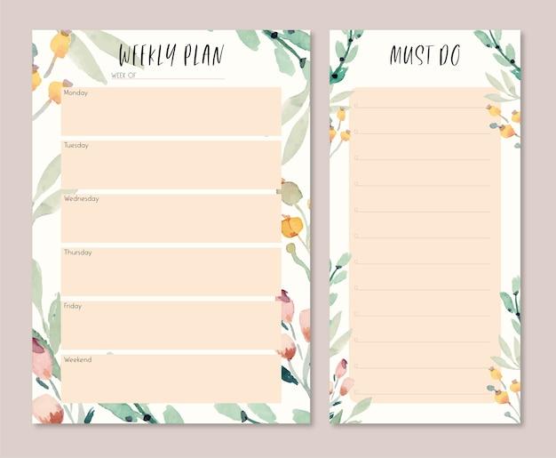 Plan semanal de hojas de acuarela suaves y cálidas y lista de tareas