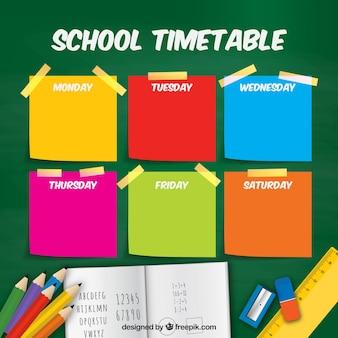 Plan semanal con notas de colores y material