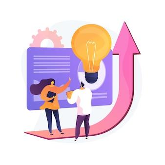 Plan de ventas para la ilustración de vector de concepto abstracto de negocio. presentación del plan de marketing, estrategia empresarial, previsión de beneficios, objetivo comercial, gestión de ventas, metáfora abstracta del grupo objetivo.