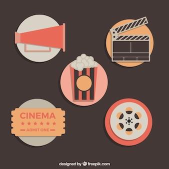 Plana paquete de elementos de la película