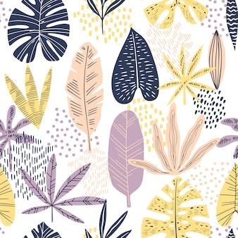 Planas hojas tropicales de patrones sin fisuras