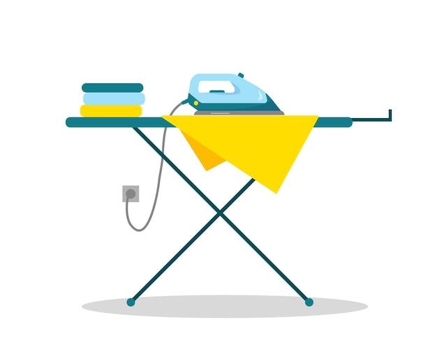 Plancha y ropa sobre una tabla de planchar. ilustración de vector plano. diseño de concepto de hogar.