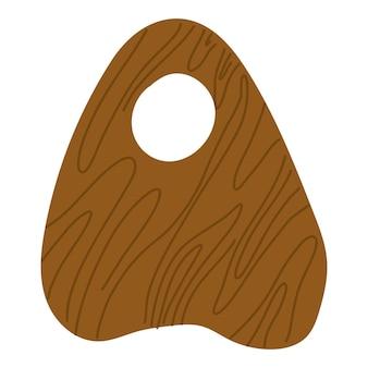 Planchette de madera ouija. elemento de diseño esotérico y místico. ilustración de dibujado a mano de vector.