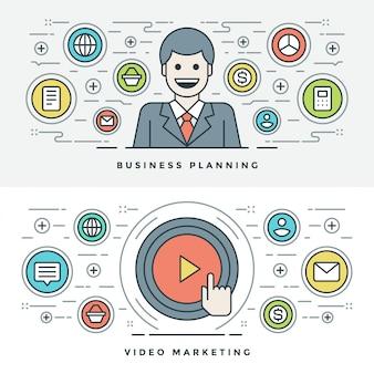 Planeación de negocios de línea plana y video marketing. ilustracion vectorial