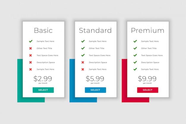 Planes de negocios limpios y plantilla de visualización de tabla de precios