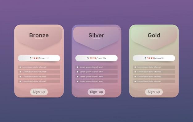 Planes de precios. tabla de comparación de precios para la web.