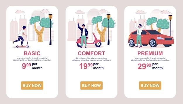 Planes de suscripción de tarifas tabla de precios pantallas de aplicaciones móviles vector plantilla de banner de sitio web ui sitio web ...