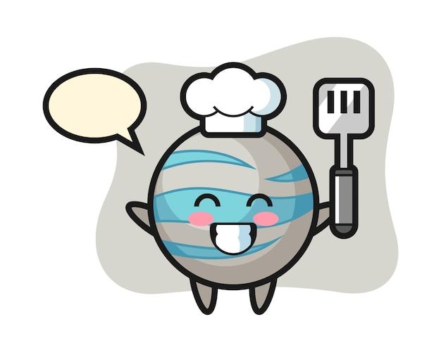 Planet chef cartoon está cocinando