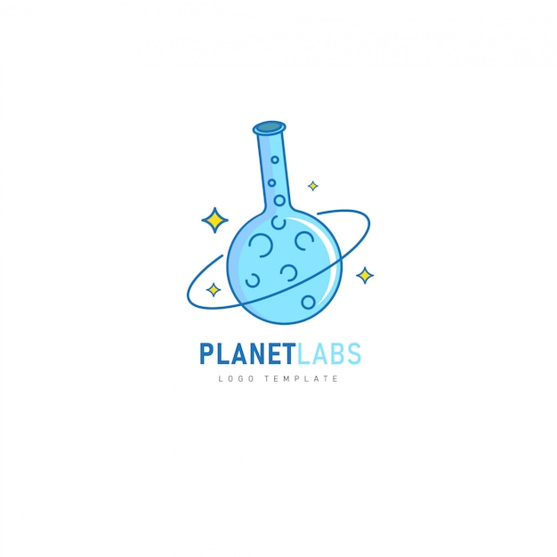 Planet labs con diseño de tubo químico para farmacéutico, laboratorio, logotipo químico