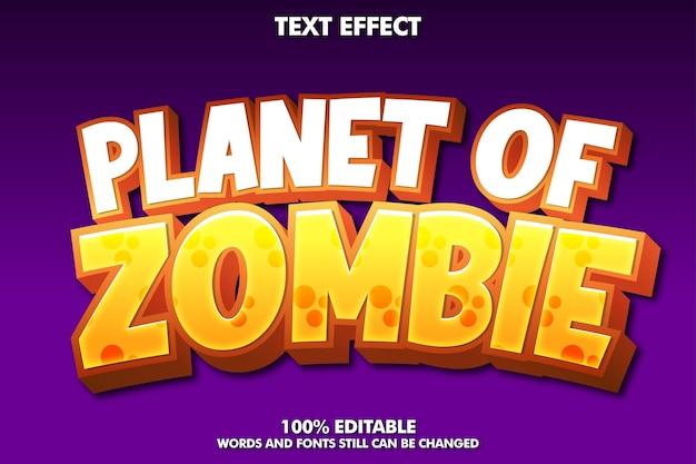 Planet of zombie - efecto de texto editable de dibujos animados