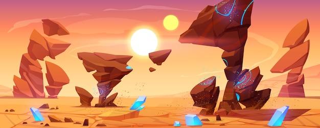 Planeta alienígena desierto en cosmos, paisaje marciano