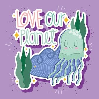 Planeta del amor de las medusas marinas