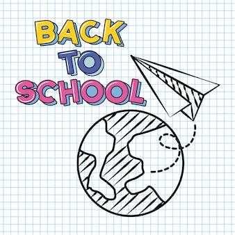 Planeta y avión de papel, doodle de regreso a la escuela dibujado en una hoja de cuadrícula