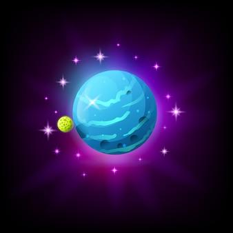 Planeta azul con icono de anillos para juego o aplicación móvil sobre fondo oscuro. ilustración del mundo alienígena en estilo de dibujos animados
