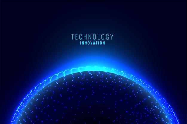 Planeta digital con conexión de partículas.