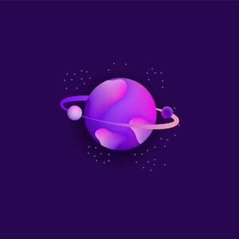 Planeta en el espacio con asteroide y polvo de estrellas galaxia diseño ilustración vectorial.