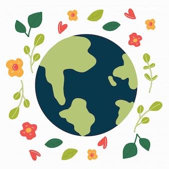 Planeta y flores