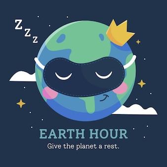 Planeta de la hora de la tierra de diseño plano con corona